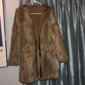 BCBG rabbit reversible long coat